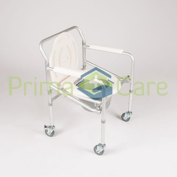 Commode - Aluminium - Folding - With Wheels - Side view