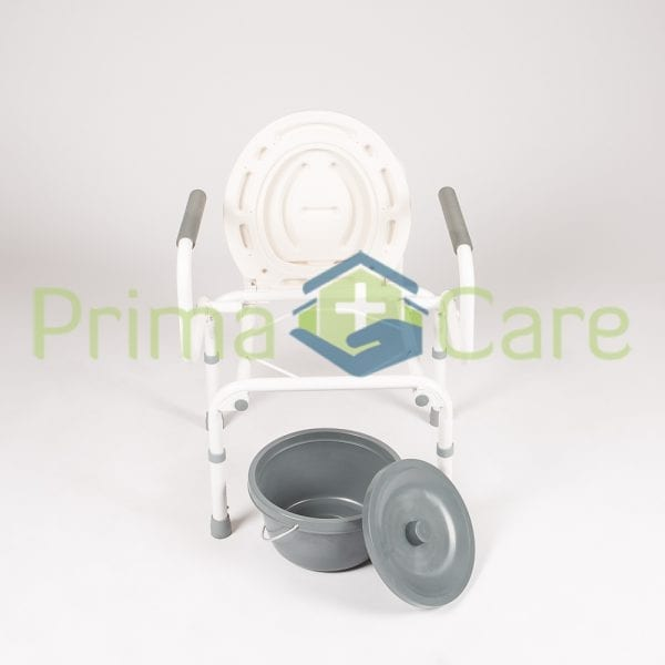 Commode - Drop arm - front view with bucket removed