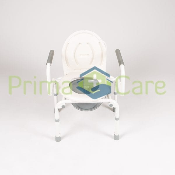 Commode - Drop arm - front view with seat up