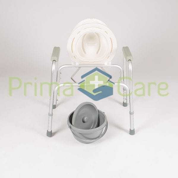 Commode - Standard - Aluminium - Front view with removable bucket