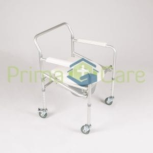 Commode-Aluminium- Foldable - With Wheels