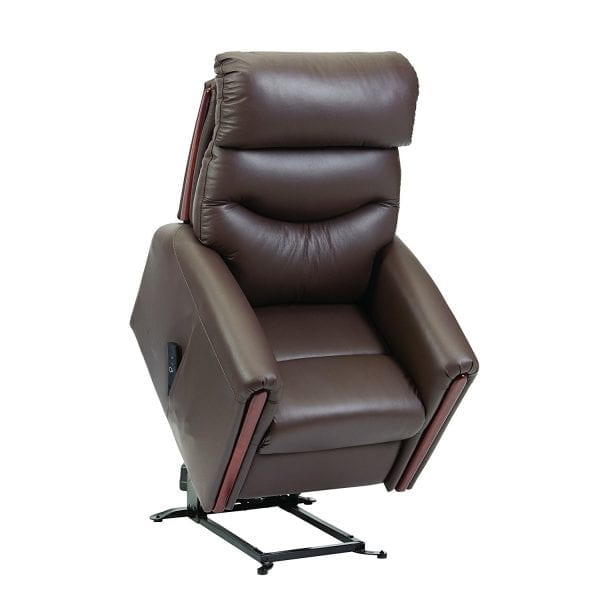 Rise Recliner - Restwell - Santana - Fabric - Brown Leather - Rise up position