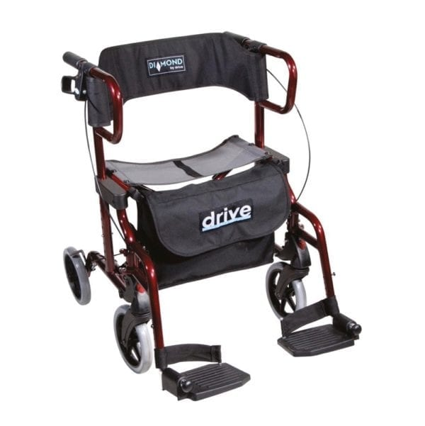 Rollator - Drive Medical - Diamond Deluxe - Maroon - With Footrests