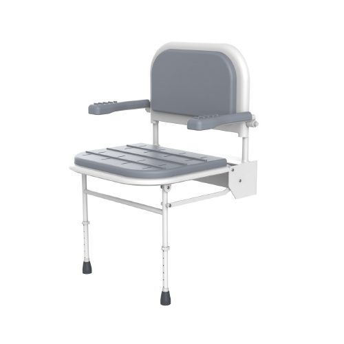 Shower Chair - Wall Mounted - Heavy Duty with Arms and Backrest